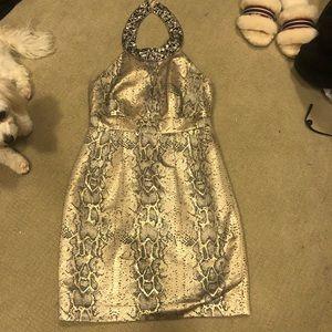 Laundry by Shelli Segal Metallic Snake Skin Dress